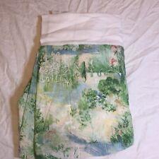 "Full Bed Skirt Dust Ruffle Green Impressionism Garden Scene 15"" Drop Pleat"