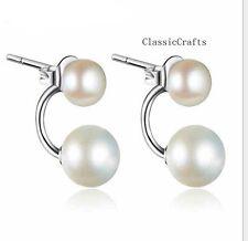925 sterling silver 9-10mm & 6-7mm freshwater pearl  stud  earrings white