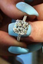 18K WG 2.10 Ct Cushion Cut Diamond Round Pave Engagement Ring Set G,SI1 GIA
