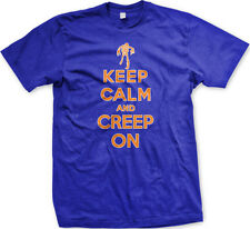 Keep Calm And Creep On Halloween Poster Skeleton Costume Party Boo Men's T-Shirt