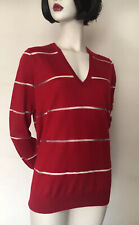 Eric Bompard 100% Cashmere V-Neck  Red Thin Knit Jumper/Sweater,Size M,UK12/14