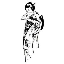 FLIRTING GEISHA Japanese unmounted rubber stamp #12