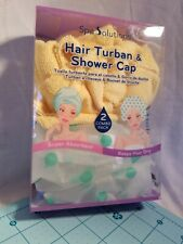 Cala Products Spa Solutions Brand - Yellow Hair Turban & Shower Cap Set - New