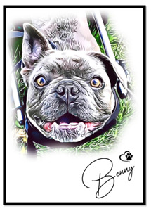 PERSONALISED PET PORTRAIT CARTOON PRINT A4 GLOSSY YOUR PHOTO PET PRINT CUSTOMISE
