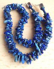 Lapislázuli cuentas de piedras preciosas Chip + ab Azul Marino Semilla Cuentas Kumihimo Trenzado Collar