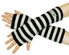 Gothic Style Santoro London Gorjuss Womens Wool Arm Warmers Black White Striped