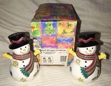 Sango China SWEET SHOPPE Christmas Snowman Salt & Pepper Shakers Sue Zipkin NIB