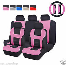 Universal Car Seat Covers For Women Steering Wheel Cover Pink Airbag Fit Toyota