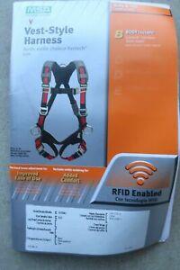 new MSA 10105941 Evotech X-Large Red/Black Full-Body Harness, Back D-Ring, Qwik