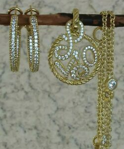 """Judith Ripka Gold Clad Sterling Set : Hoops, LOVE Enhancer And Chain 20"""" L"""