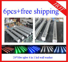 6pcs 24*10W RGBW 4 in 1 Led Wall Washer Led Flood DJ Stage Light Free Shipping