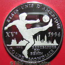 1992 BENIN 1000 FRANCS SILVER PROOF 1994 USA WORLD CUP SOCCER PLAYER BALL 38mm
