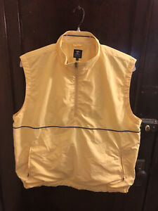 Pebble Beach Vest Mens Size XXL Yellow Pullover 1/4 Zip Mesh Lined