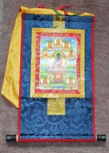 Tibetanischer Thangka acht Medizin-Buddha-Statuen-hölzerne Rolle, 37 x 22cm