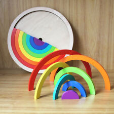 Rainbow Nesting Arch Bridge Wooden Blocks Stacker Creative Building Learning Toy