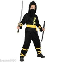 BOYS NINJA HALLOWEEN KIDS DRAGON NINJA JAPANESE MARTIAL ARTS FANCY DRESS COSTUME