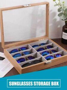 Eyeglass Sunglass Storage Box 8 Slot Wooden Glasses Display Storage Organizer