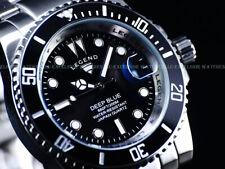 NIB Legend Mens 200m Deep Blue Diver Midnight Black Dial Miyota Quartz SS Watch