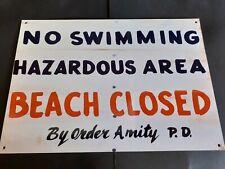 Jaws themed Amity Beach Closed metal sign - Shark, Quint, Orca, Movie