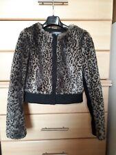 Marks and Spencer short jacket faux fur black brown animal leopard print 8/10