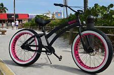 Premium Aluminum Fat Tire Beach Cruiser 🌴 Sikk 3 SPEED Pink-CUTOUT RIMS- Ladies