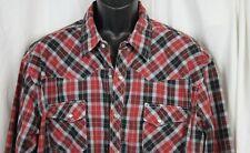 Vtg Wrangler Wrancher Shirt Western Rockabilly Cowboy Check Plaid Pearl Snap 2X