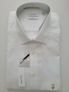 Calvin Klein Mens 18 35/36 White Moisture Wicking No Iron Dress Shirt