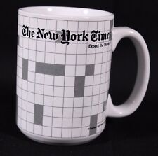 New York Times Crossword Puzzle Coffee Mug Cup White Black Appx 4.5 x 3.25""