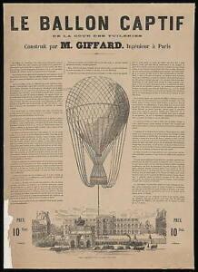 Henri Giffard,Balloon Ascension,Le Ballon Captif,Tuileries,Paris,France,c1 4168