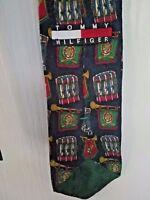 Tommy Hilfifiger Snare Drum & Bugle Print Mens Classic Silk Neck Tie Vintage 90s