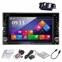 GPS Navi HD Double 2DIN Car Stereo CD DVD Player Bluetooth BT iPod MP3 TV+Camera