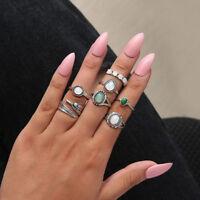 Eg _7pcs / Set Boho Damen Faux Opal Schlag Formring Midi Offen Ringe Schmuck