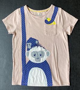 Girls 7-8 MINI BODEN Blue Polka Dot Monkey Appliqué Pocket Tee HTF!