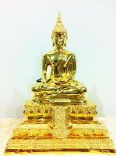 THAI AMULET BUDDHA LP WAT RAIKING STATUE GOLD PLATED ENRICHING PROSPERITY