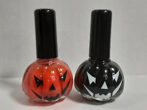 Halloween Pumpkin Nail Polish Lot of 2 Orange and Black 13mL Each