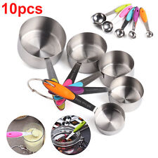 10Pcs Stainless Measuring Cups & Spoons For Baking Cooking Coffee Kitchen Tools
