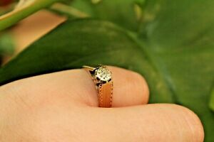 9ct yellow gold illusion set diamond solitaire ring with detailed mount L 3g