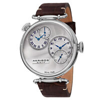 New Men's Akribos XXIV AK796SSBR Quartz Dual Time Brown Leather Strap Watch