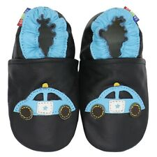 carozoo black police car 6-12m new soft sole leather baby shoes