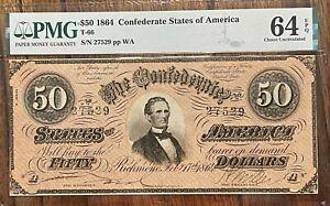 $50 1864 Confederate States of America PMG64 Exceptional Paper quality COLOR T66