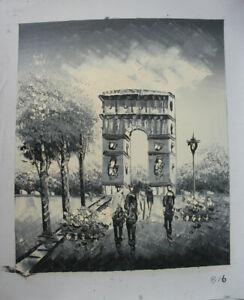 Wall Art The arc DE triomphe Paris Street Hand Painted Oil Painting Home Deco 16