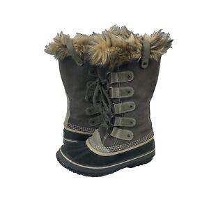 Women's Sorel 'Joan of Arctic' Gray Leather Faux Fur Winter Boots Sz 8 NL-150