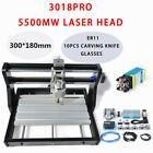 3 Axis CNC Router 3018pro Wood Mill Carving Engraving Machine ER11 +5500mw Laser