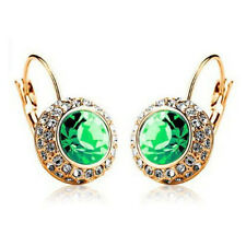 Multi-color Crystal Gold Plated Ear Stud Rhinestone Hoop Earrings Ear Clip