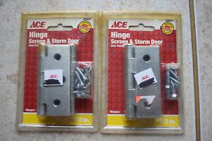 Lot of 2 2 Packs Ace Screen Storm Door Hinge 3 x 2 1/2 Repair Replace Zinc 2.5