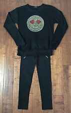 Flowers By Zoe Black rhinestone EMOJI sweatshirt And Matching Leggings BNWT $128