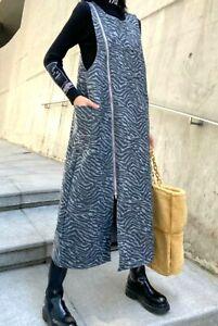 Urban Black Grey  Designer Arty Print Winter  Edgy Lagenlook Pinafore Dress 16