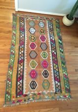 Antique Kilim Rug Turkish Persian Vintage Mid Century Modern Colorful Hand Woven