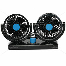 12V Dual Air Fan 360° All-Round Rotation Automotive Cooling Cooler Car Van Truck