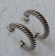 Stud Earring Balinese Solid Silver, 925 Twisted Rope Design 31897